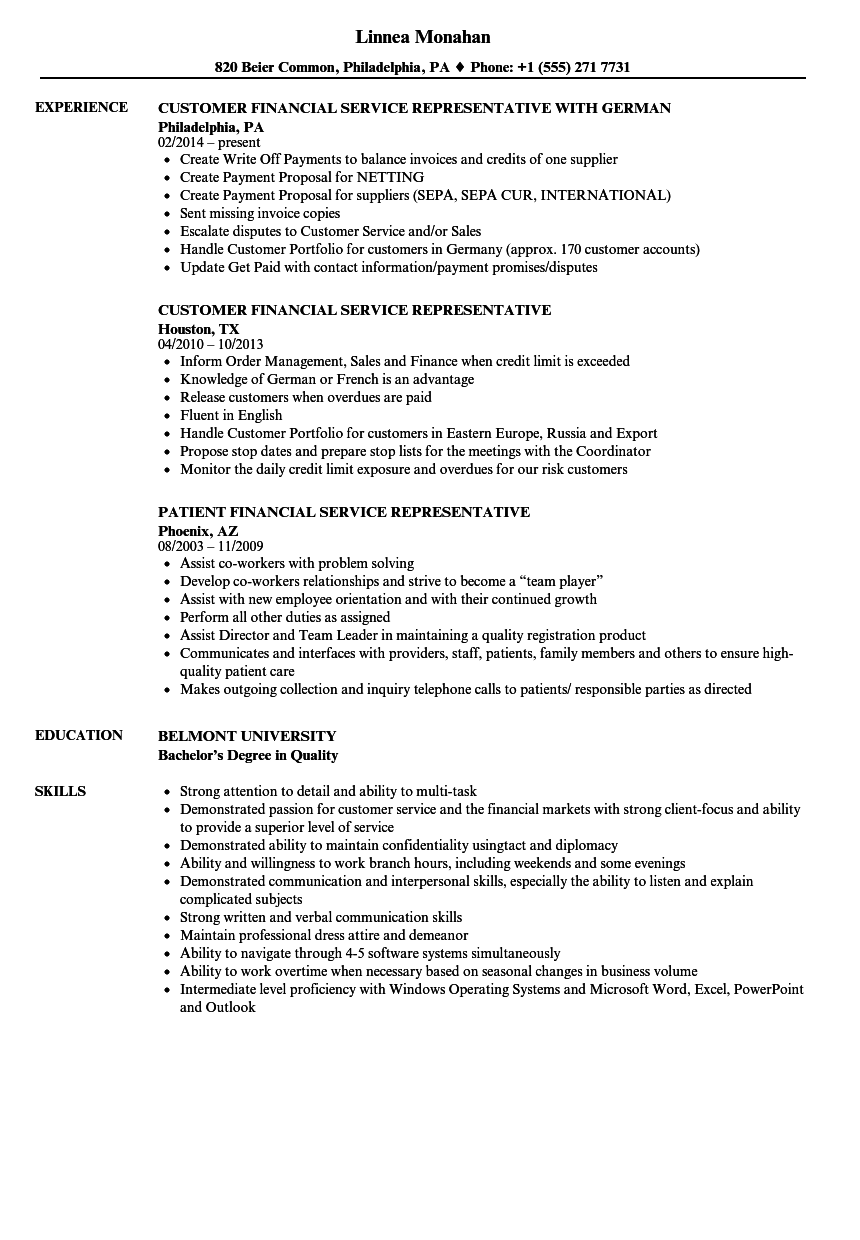 financial service representative resume  financial