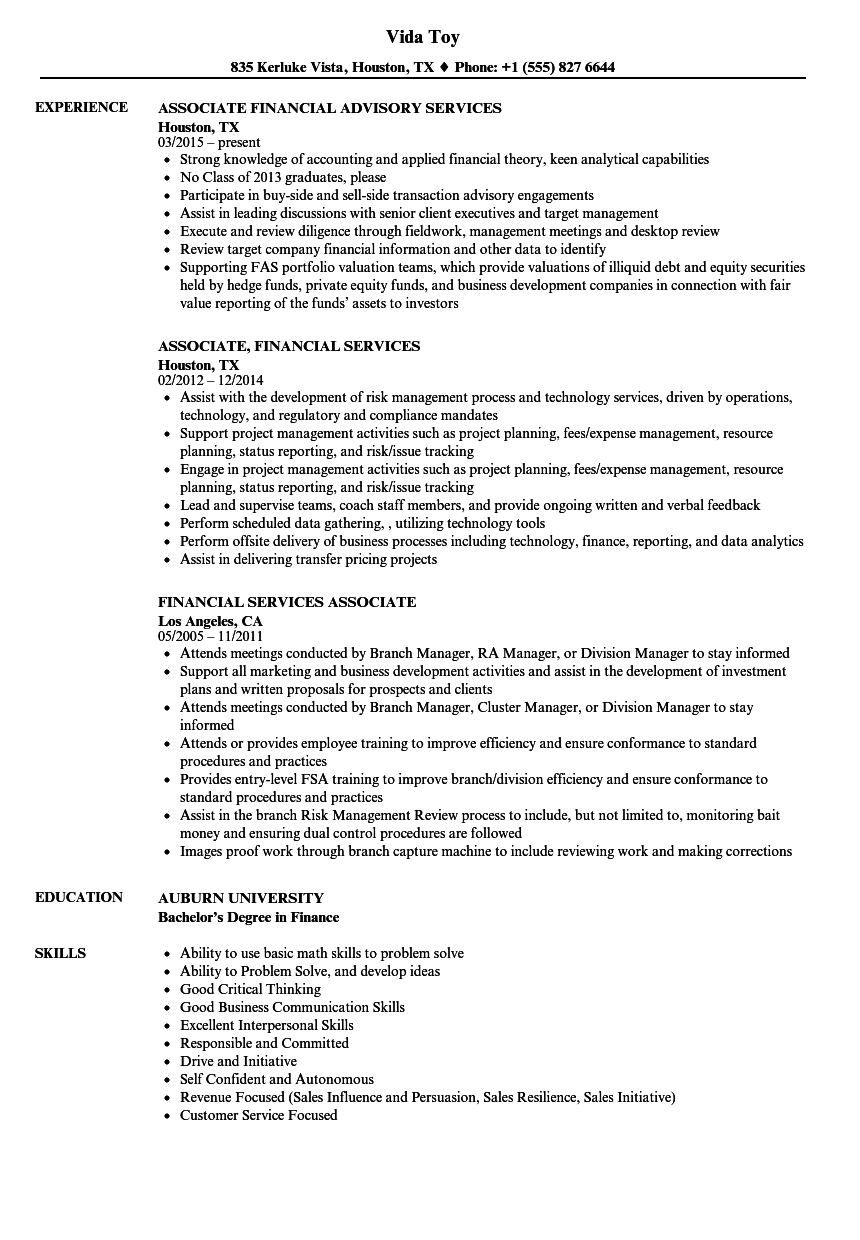 financial services associate resume samples