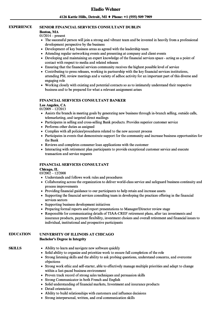 financial services consultant resume samples