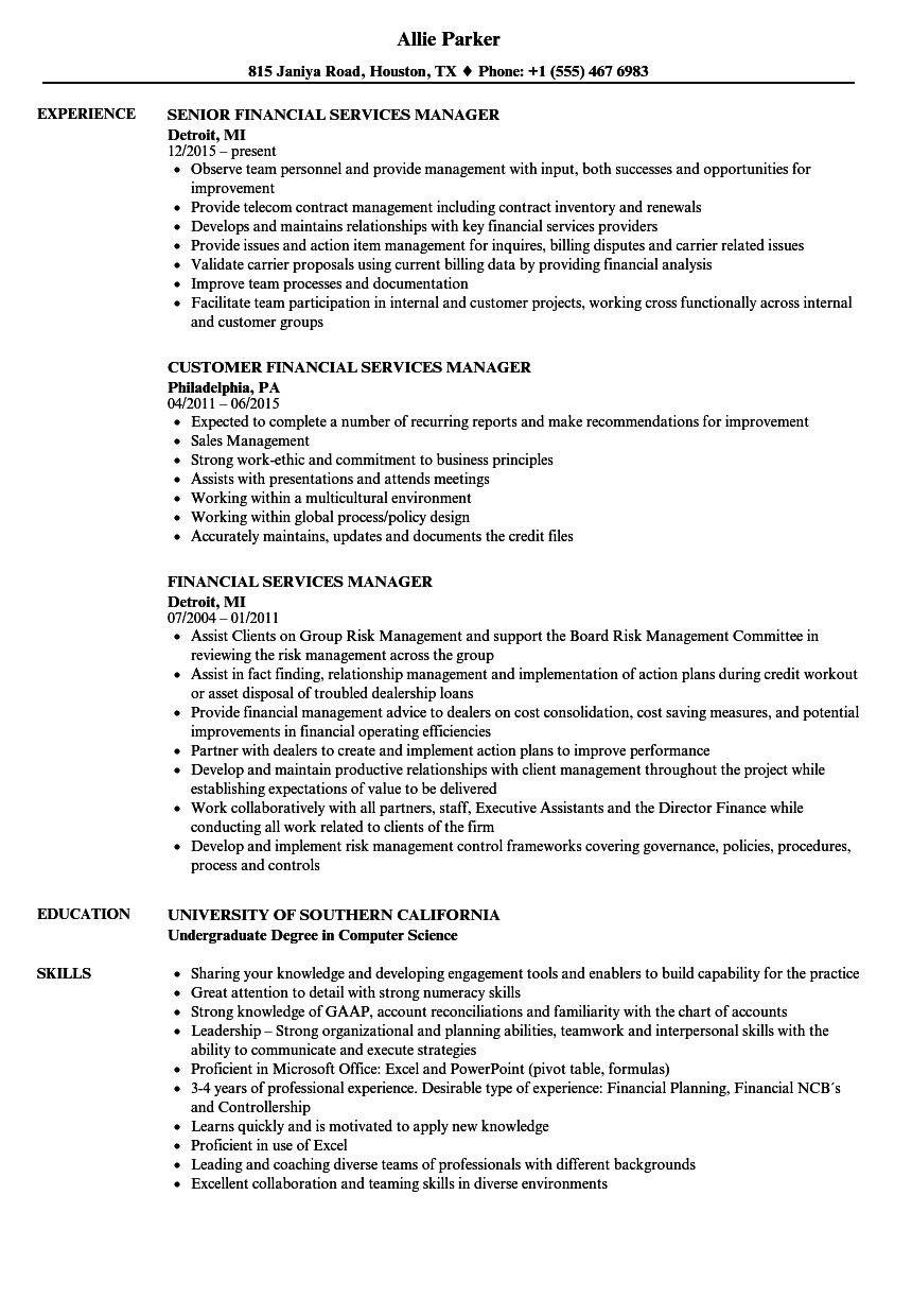 Download Financial Services Manager Resume Sample As Image File