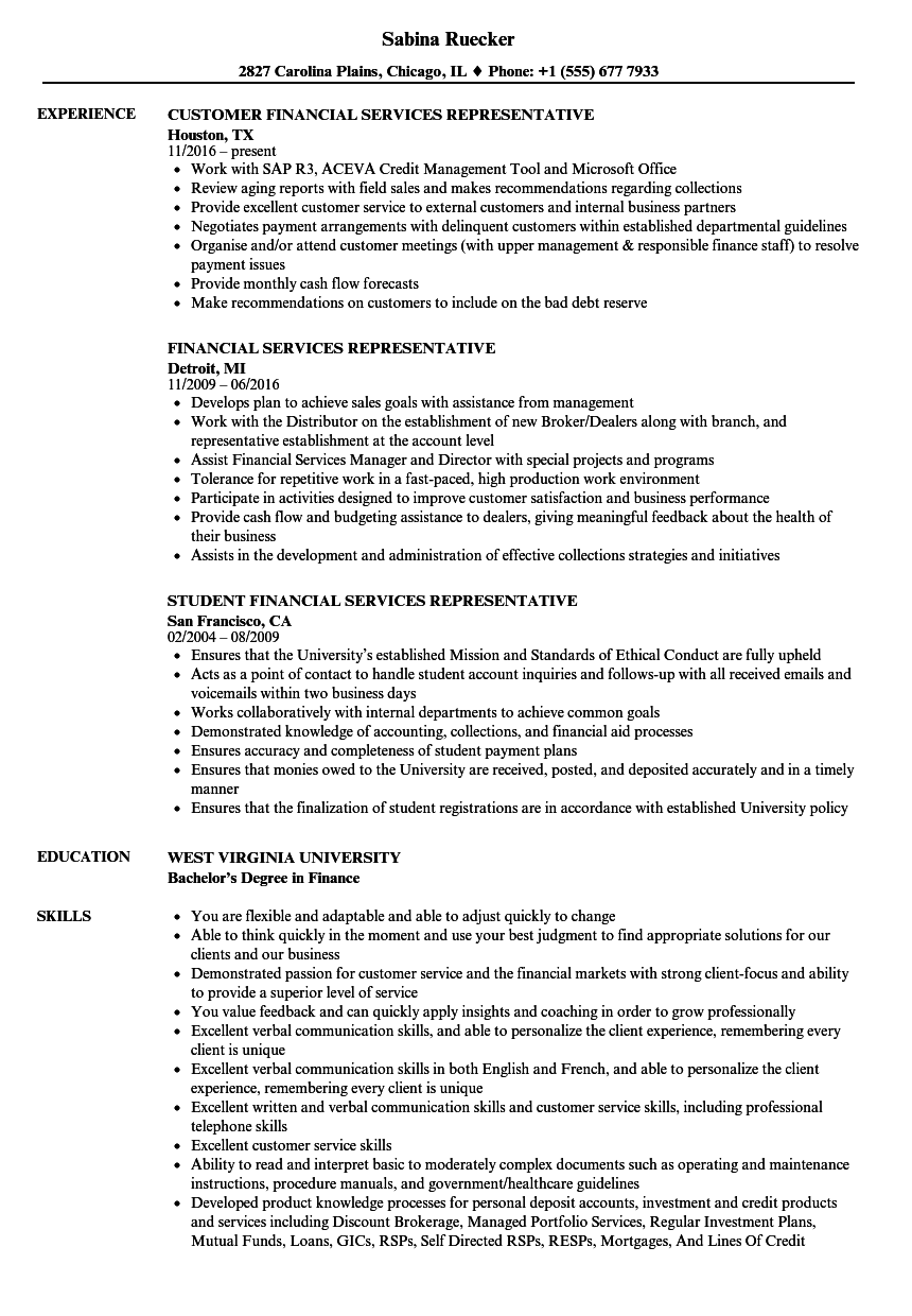 financial services representative resume samples velvet jobs