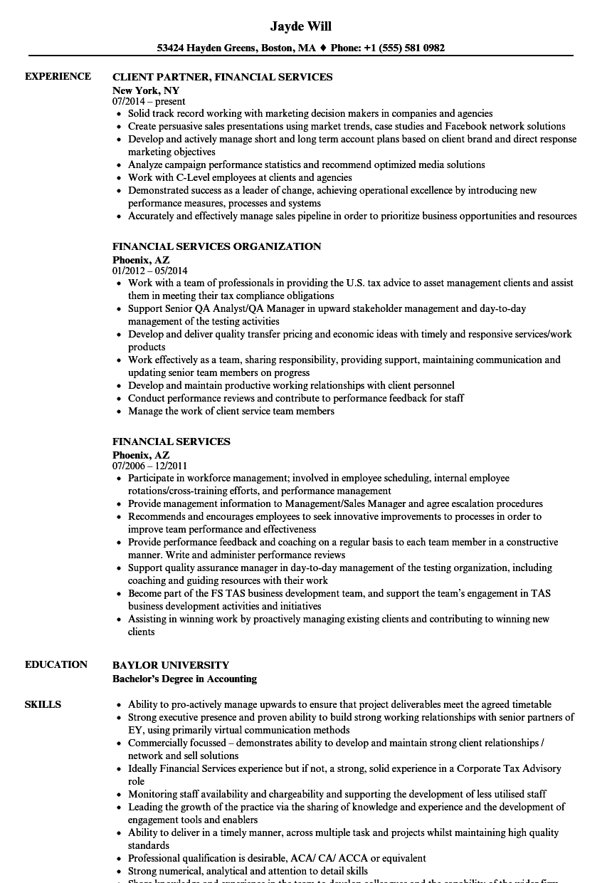 Regional Sales Manager Resume Financial Services