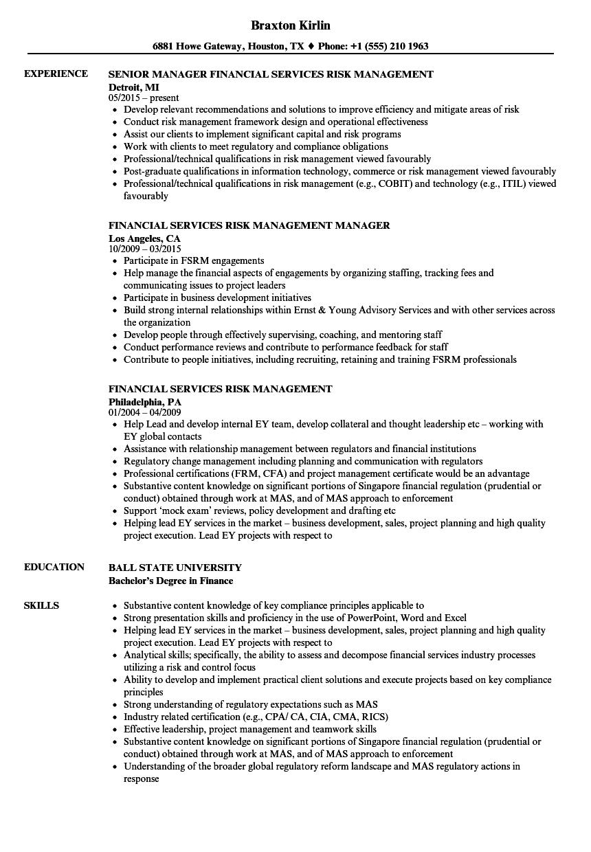 risk management job description resumes