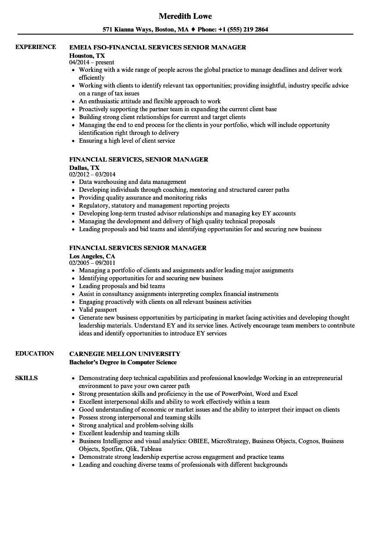financial services senior manager resume samples