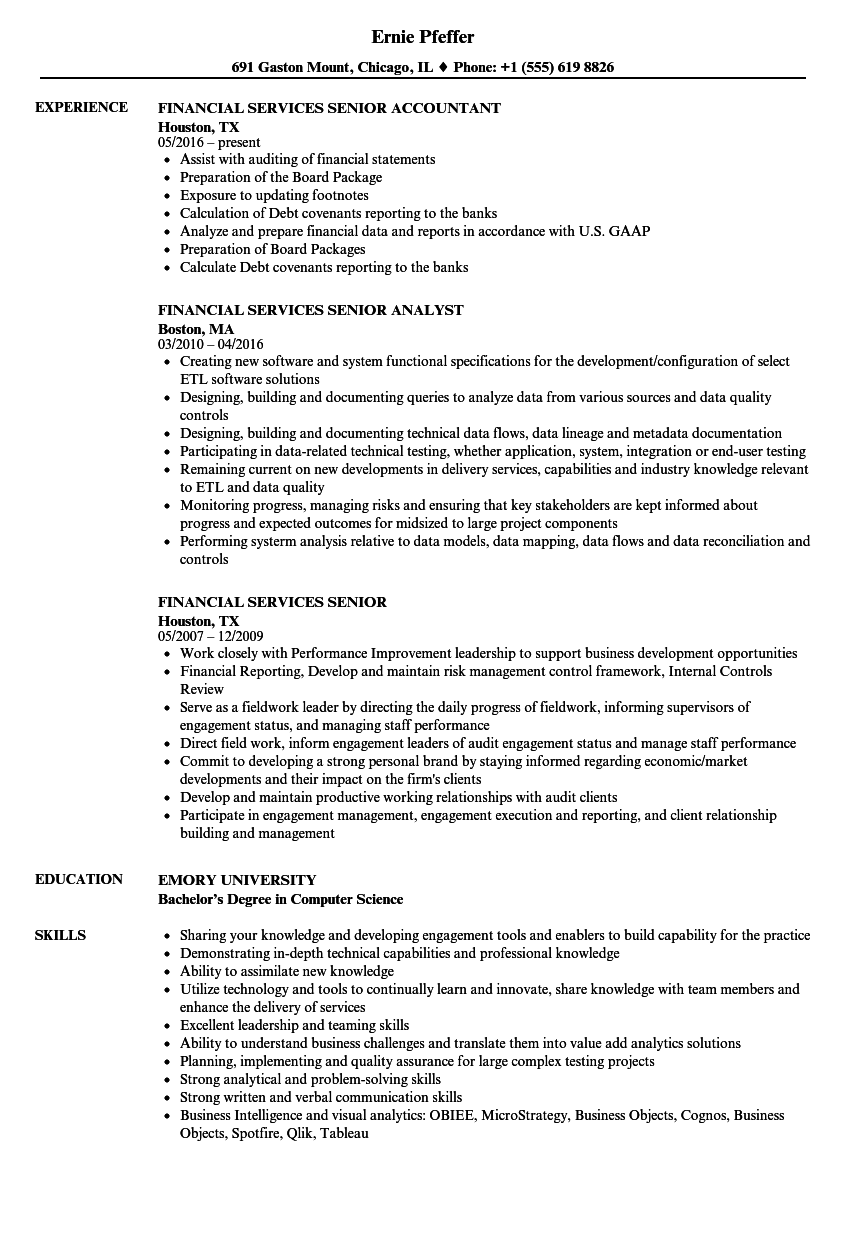 financial services senior resume samples