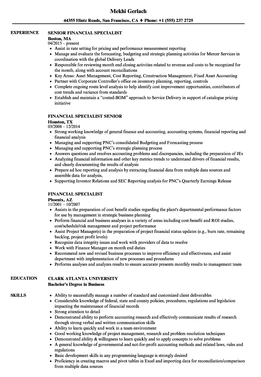 financial specialist resume samples
