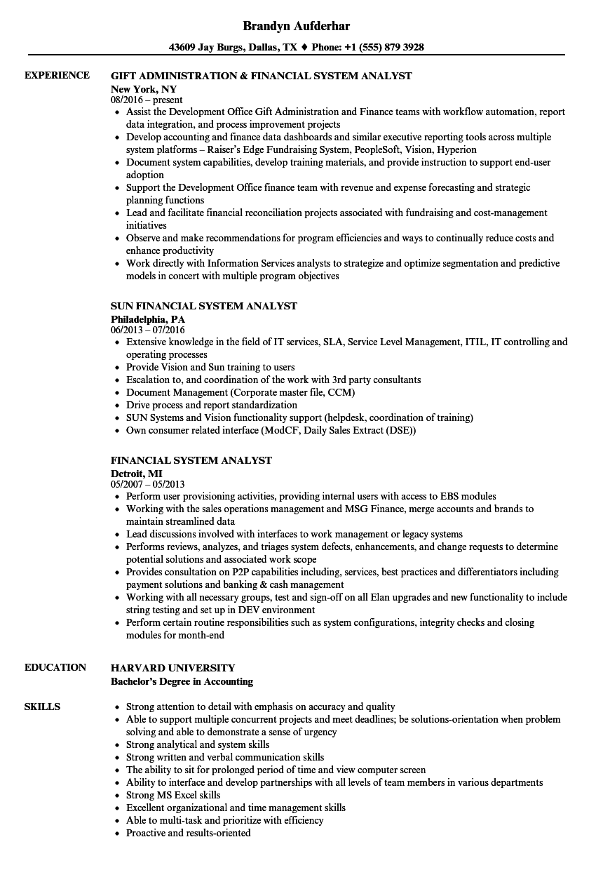 financial system analyst resume samples