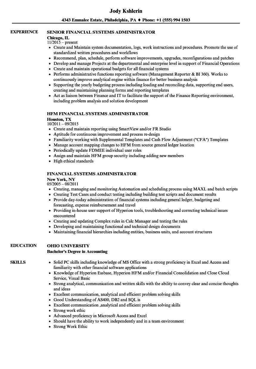 financial systems administrator resume samples
