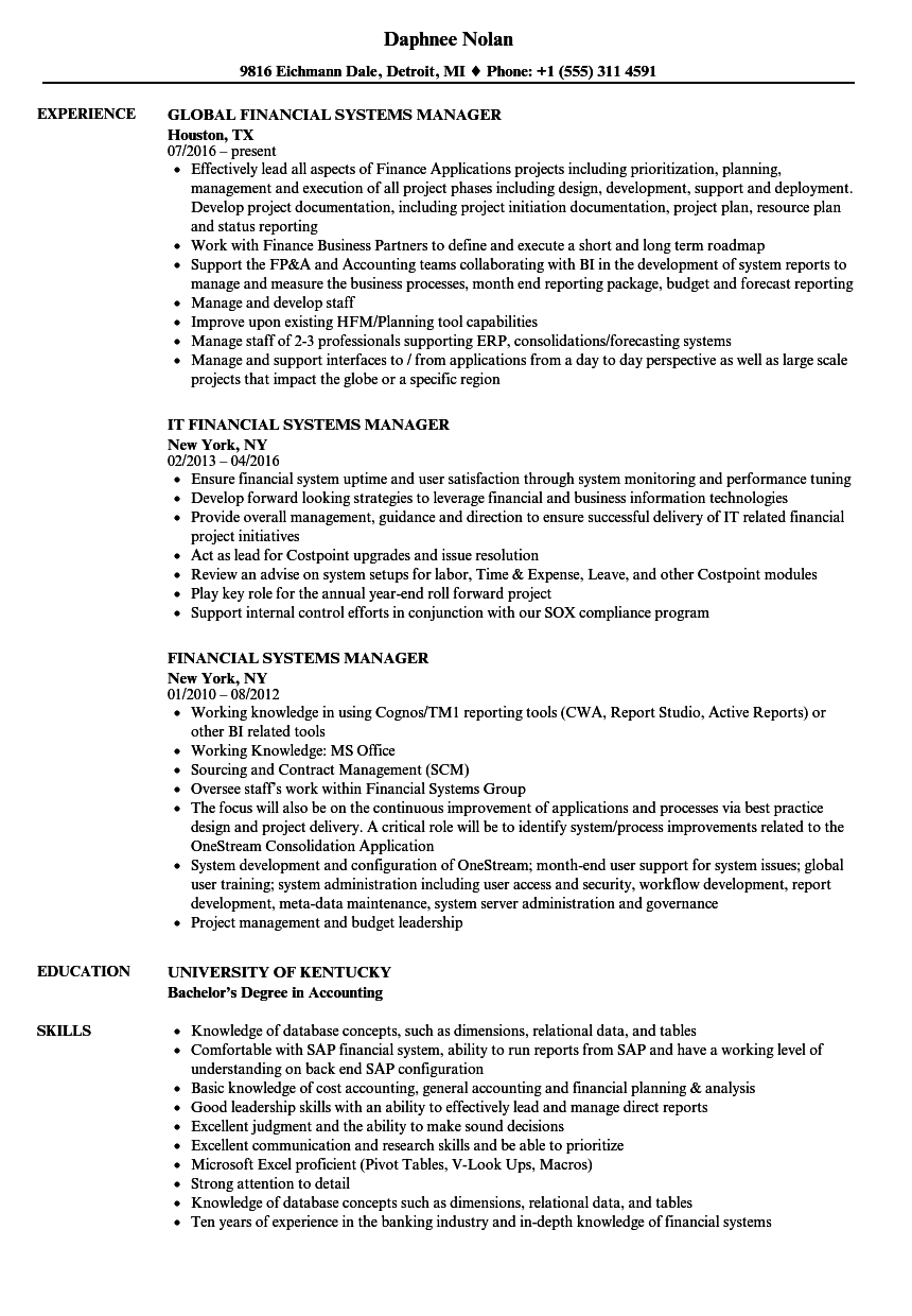financial systems manager resume samples