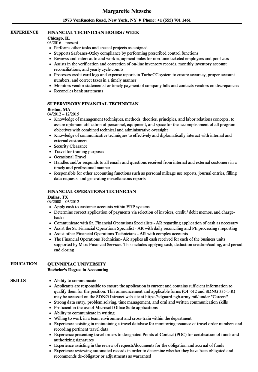 Financial Technician Resume Samples | Velvet Jobs