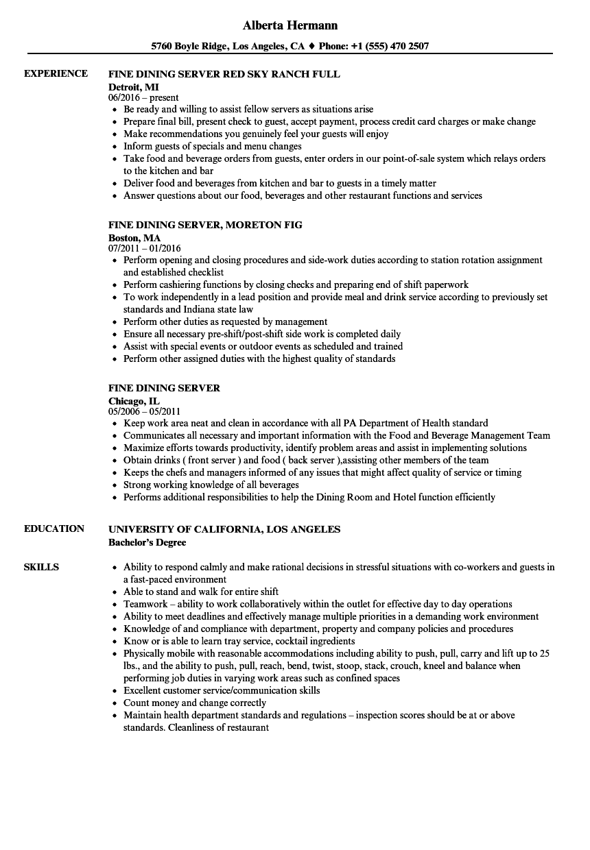 Fine Dining Server Resume Samples Velvet Jobs