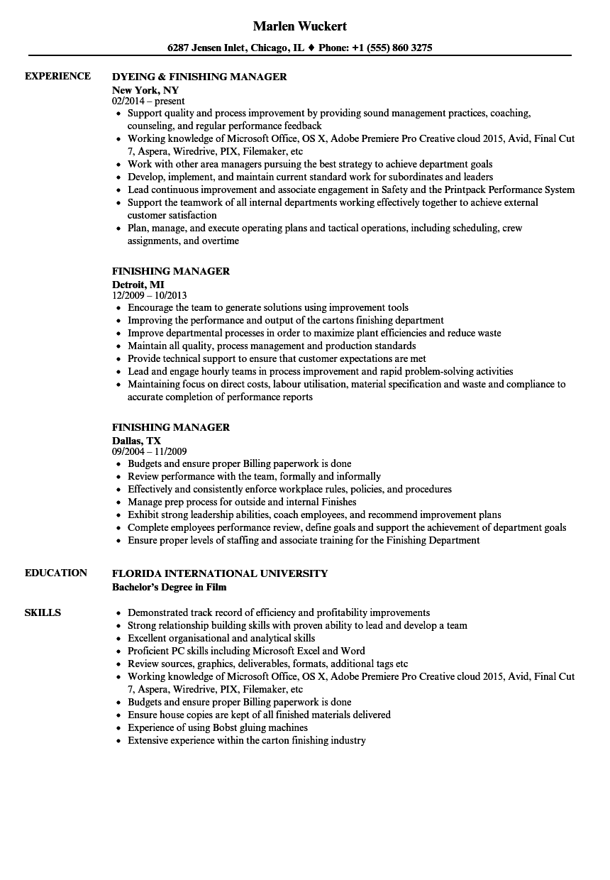 finishing manager resume samples velvet jobs  finishing manager resume sample as image file