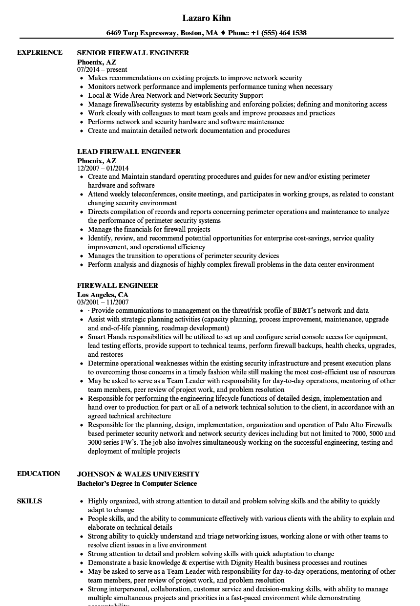 Firewall Engineer Resume Samples  Velvet Jobs