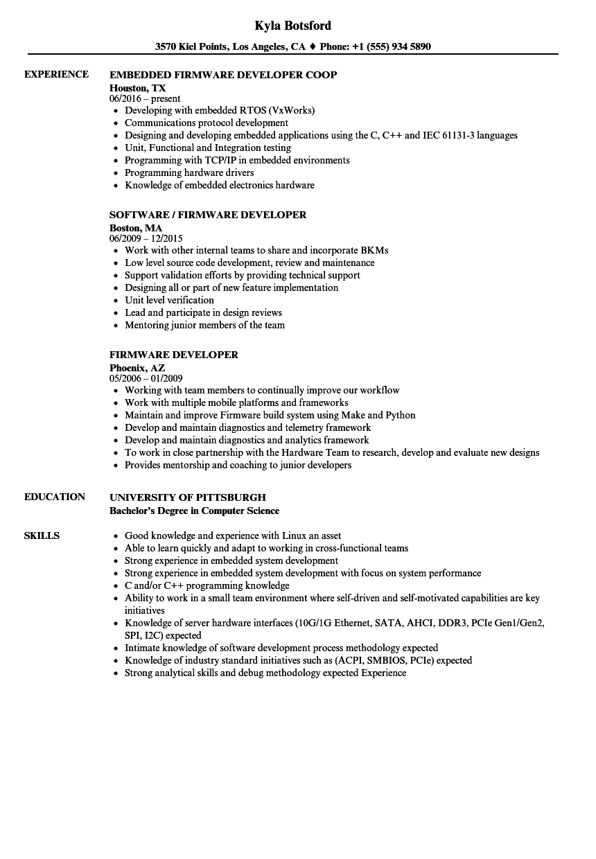 Firmware Developer Resume Samples | Velvet Jobs