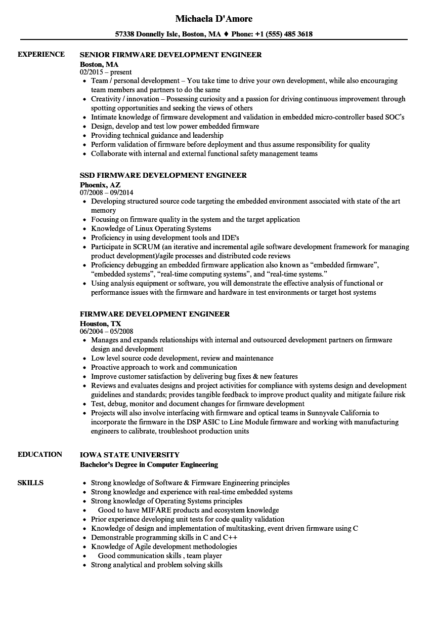 Firmware Development Engineer Resume Samples | Velvet Jobs