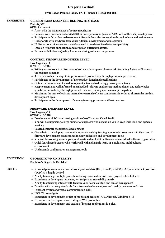 firmware engineer  engineer resume samples