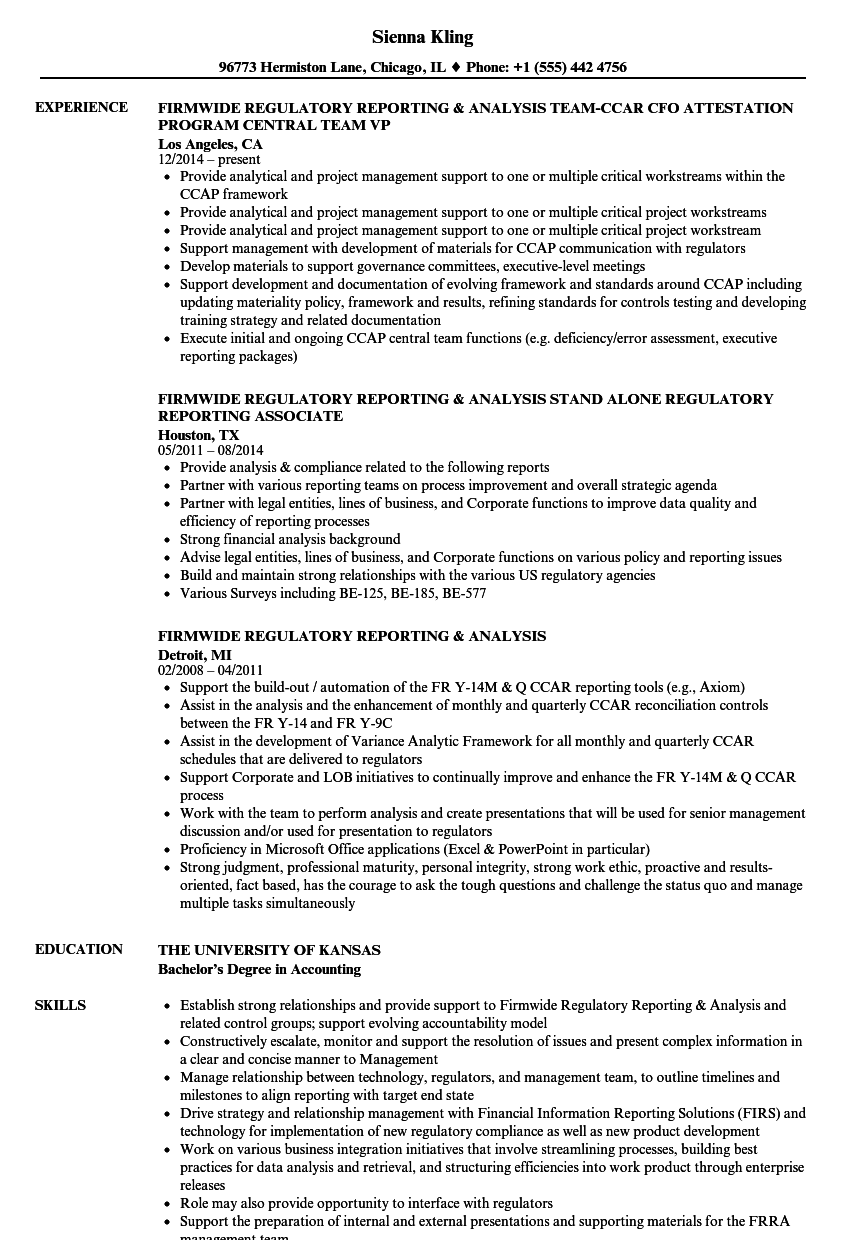 Regulatory reporting analyst resume