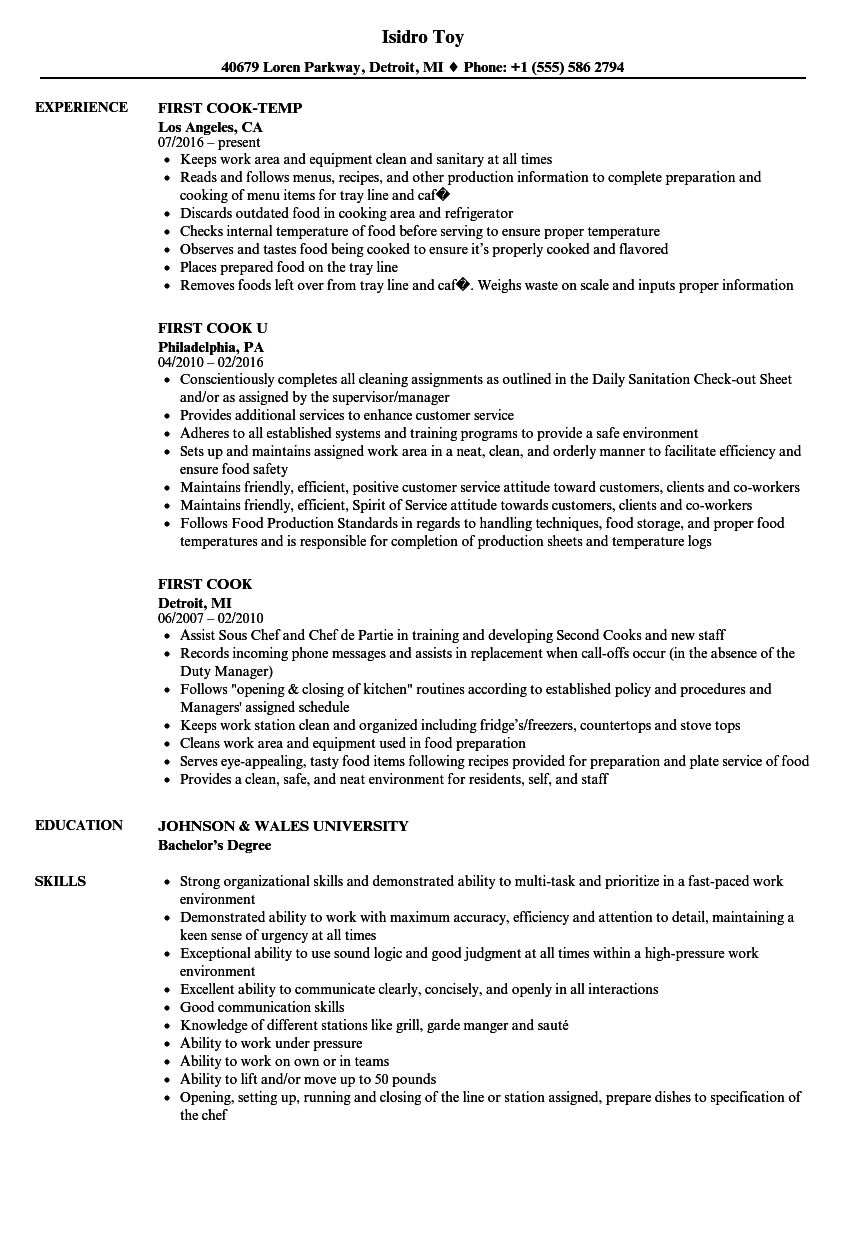 First Cook Resume Samples Velvet Jobs