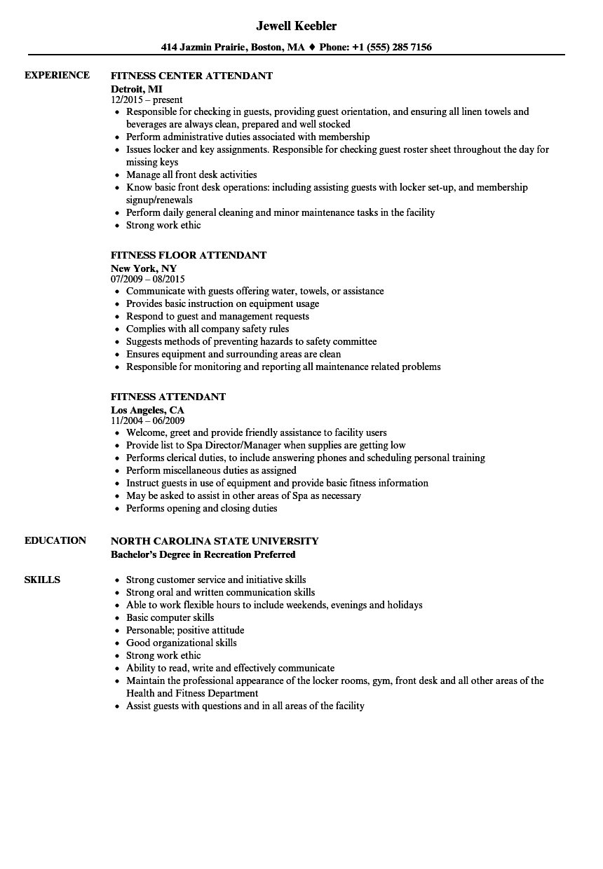 Fitness Attendant Resume Samples | Velvet Jobs