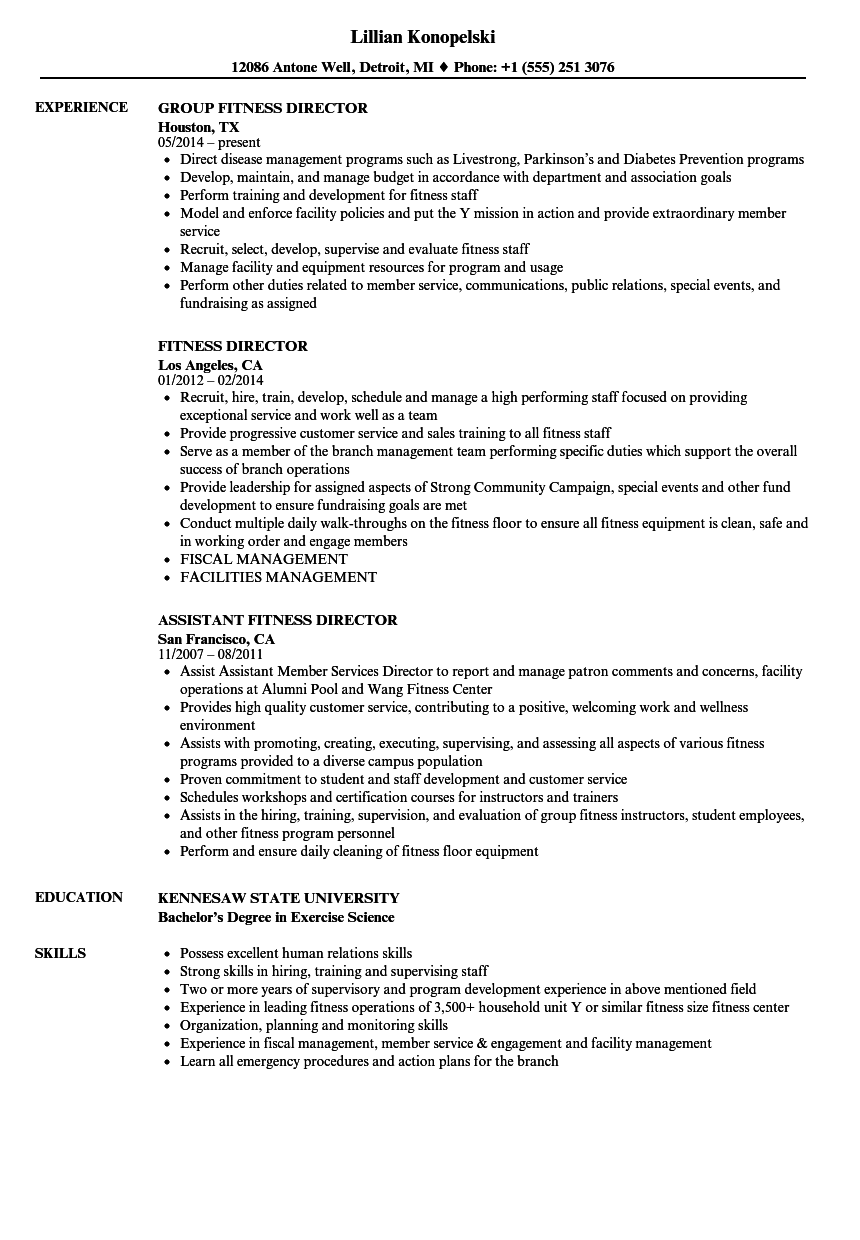 fitness director resume samples velvet jobs