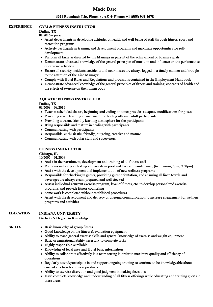Fitness Instructor Resume Samples | Velvet Jobs