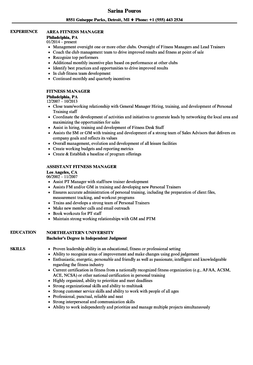 Fitness Manager Resume Samples Velvet Jobs