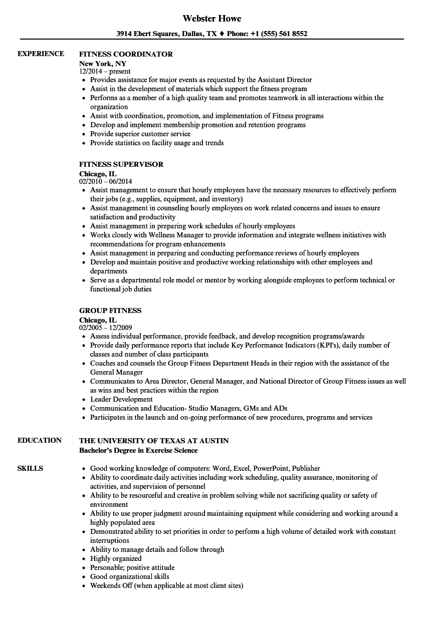 fitness resume samples velvet jobs