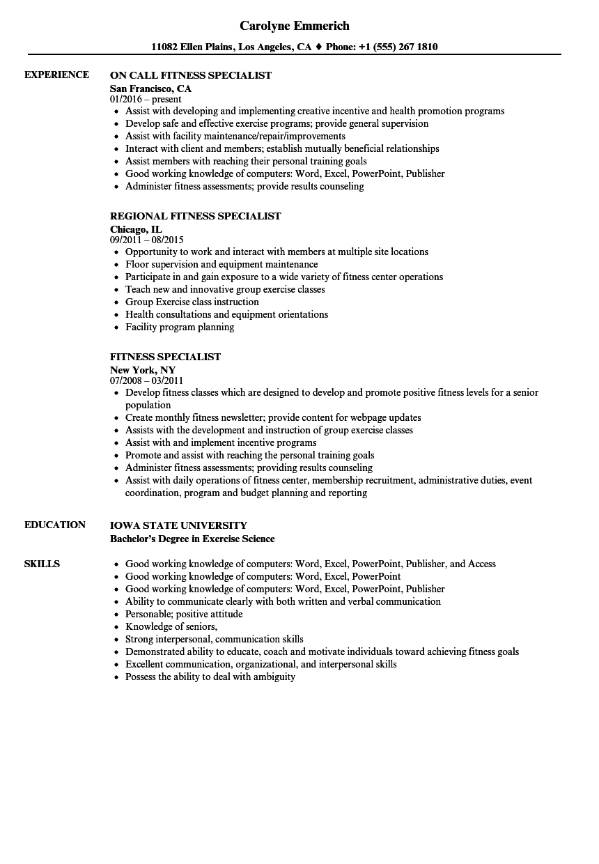 fitness specialist resume samples