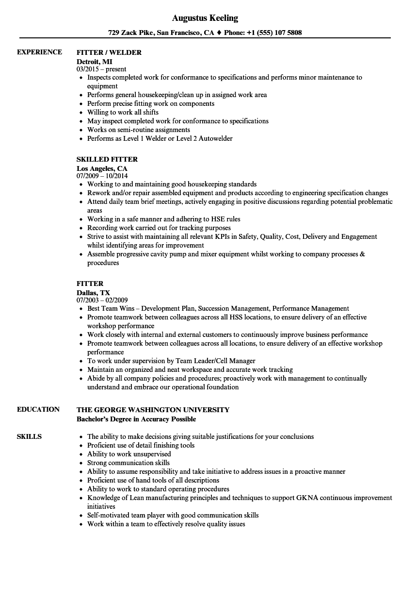 Assembly Fitter Sample Resumes