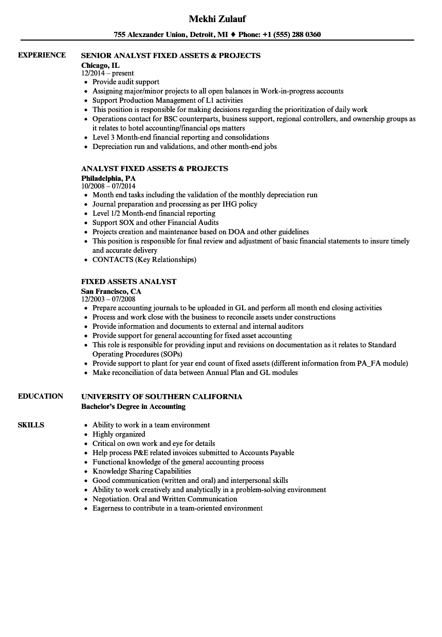 Fixed Assets Analyst Resume Samples | Velvet Jobs
