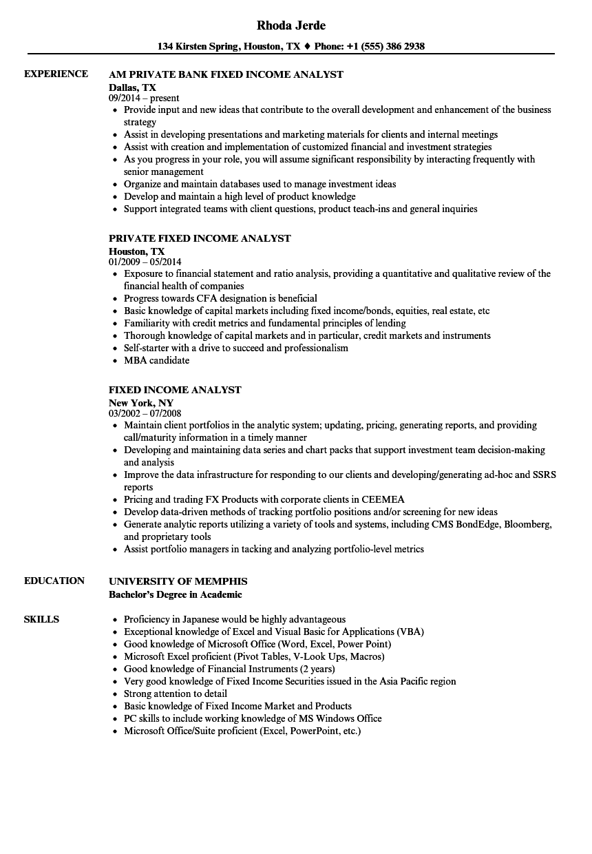 Fixed Income Analyst Resume Samples | Velvet Jobs
