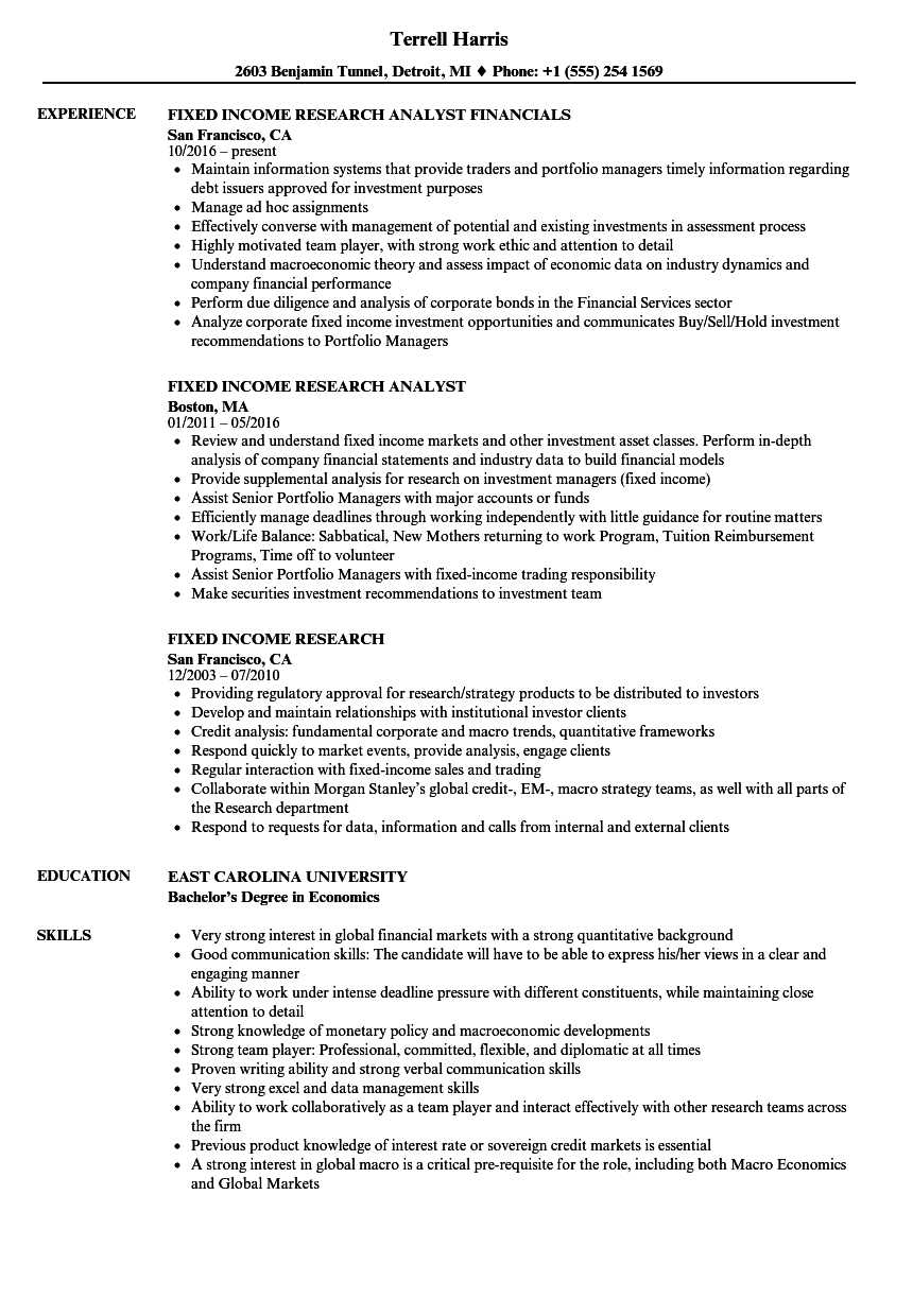 fixed income research resume samples