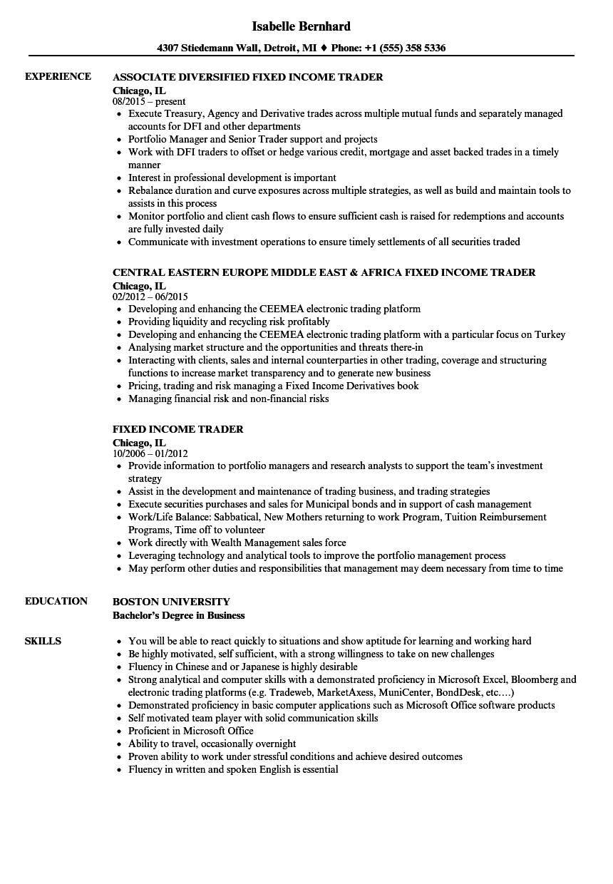 fixed income trader resume samples