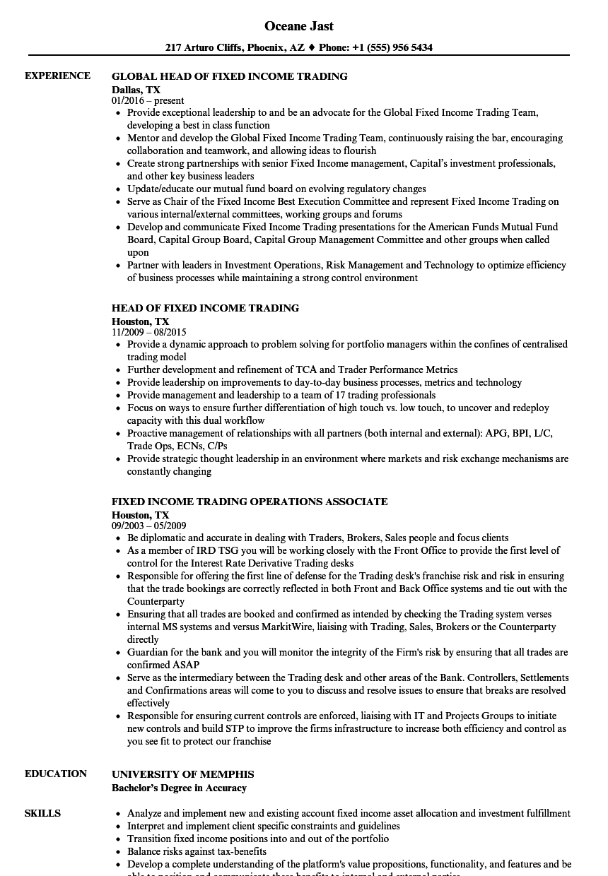 fixed income trading resume samples