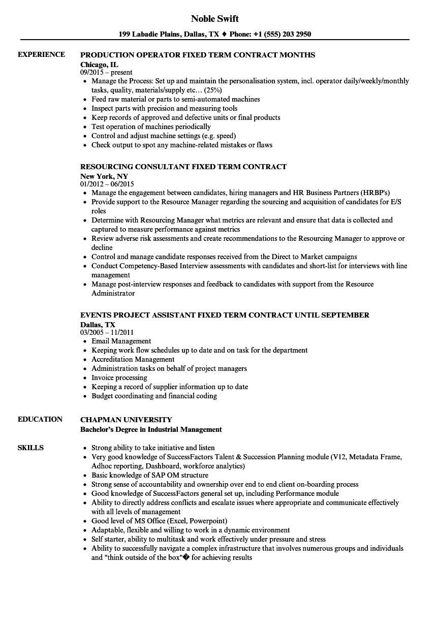 fixed term contract resume samples