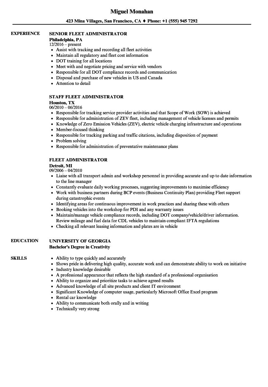 Fleet Administrator Resume Samples | Velvet Jobs