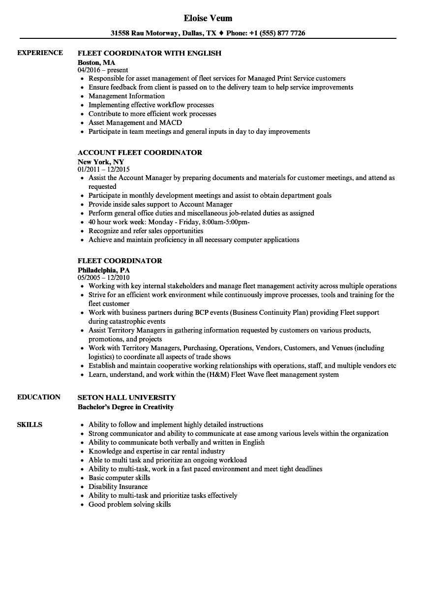 fleet coordinator resume samples velvet jobs