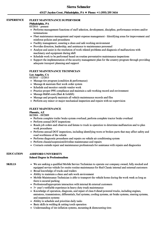 Fleet maintenance resume samples velvet jobs 1betcityfo Image collections