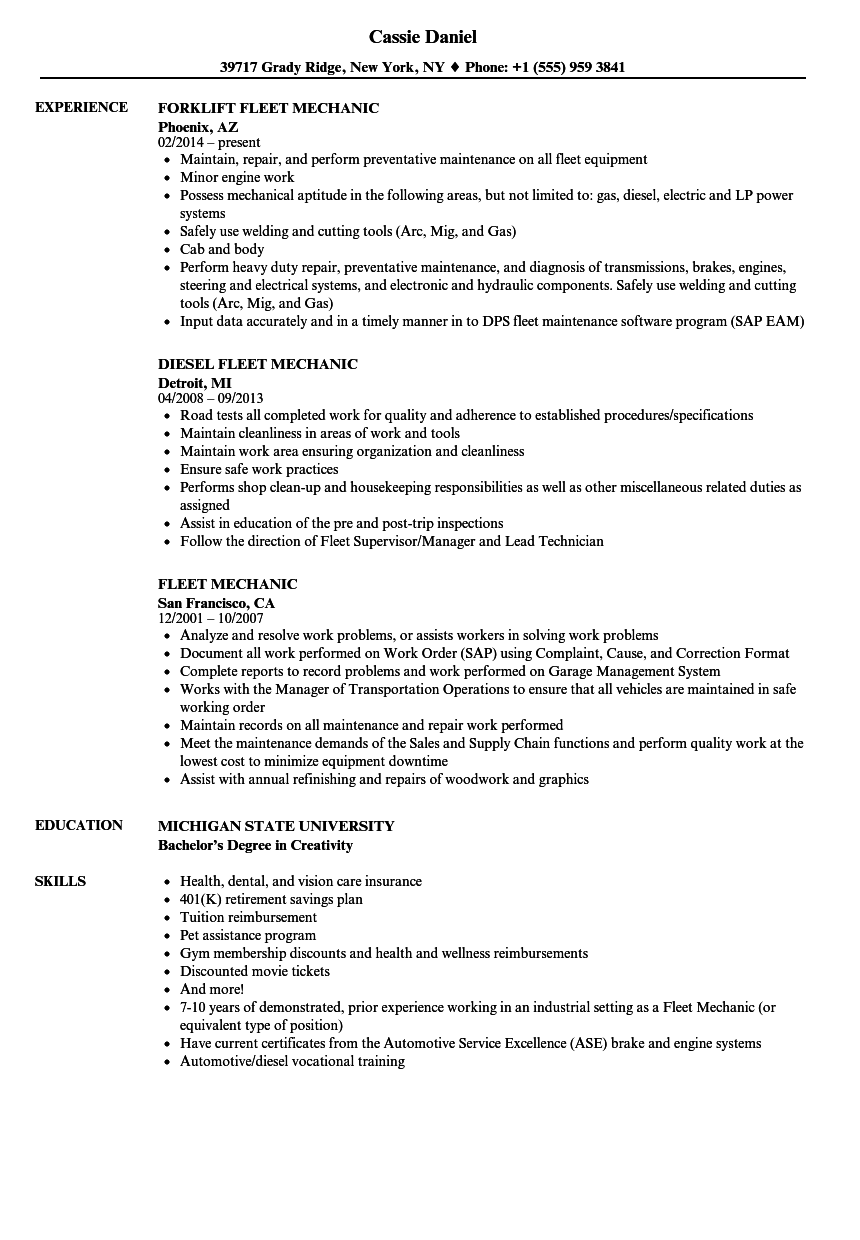 Fleet Mechanic Resume Samples Velvet Jobs