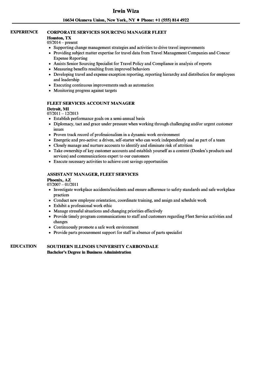 fleet services manager resume samples