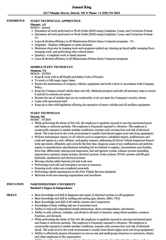 fleet technician resume samples