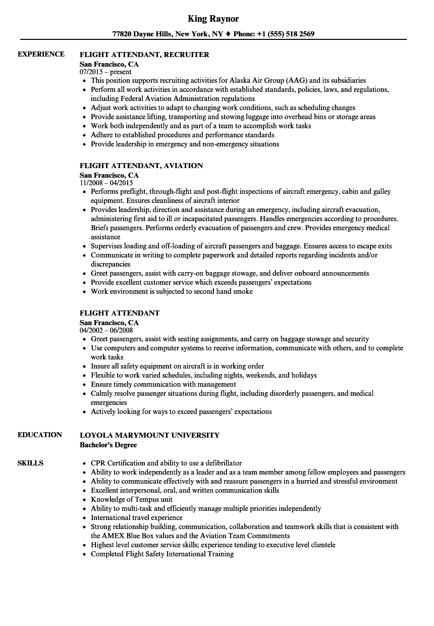Flight Attendant Resume Samples | Velvet Jobs