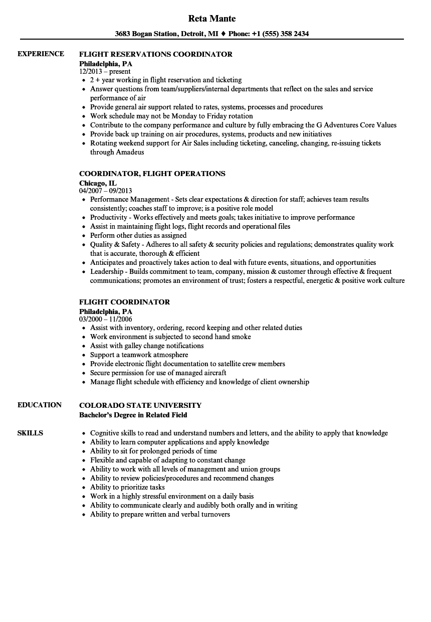 Flight Coordinator Resume Samples Velvet Jobs