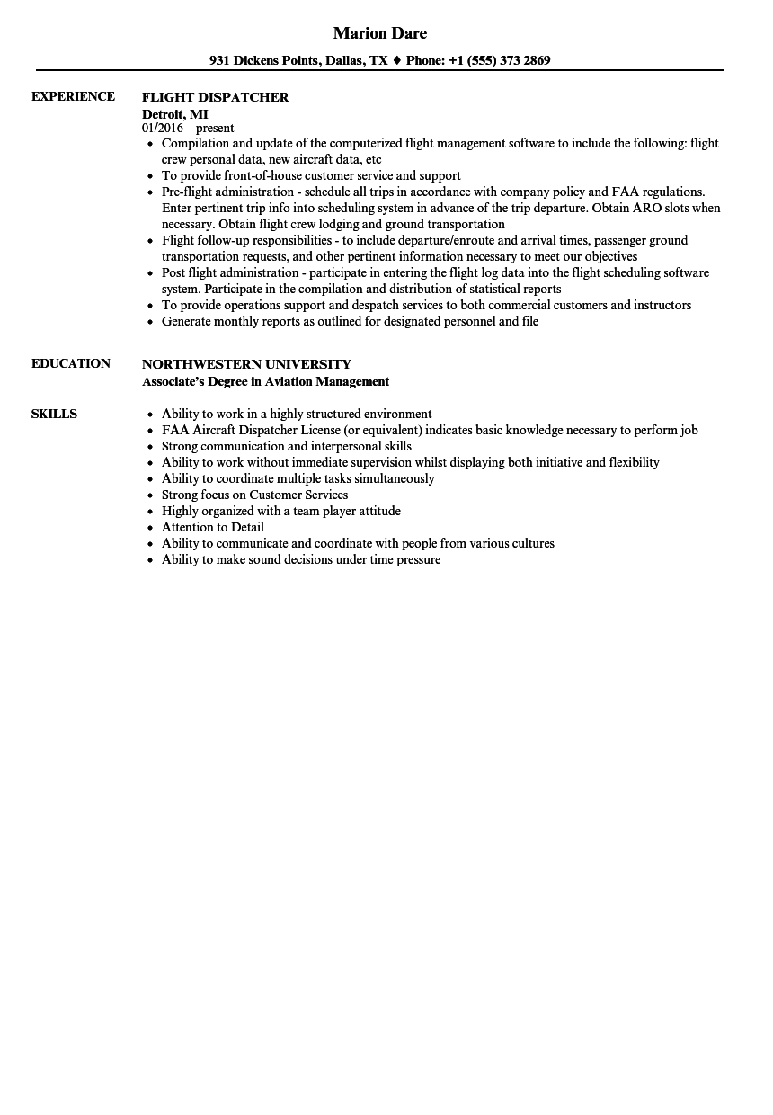 resume Dispatcher Job Description Resume flight dispatcher resume samples velvet jobs download sample as image file