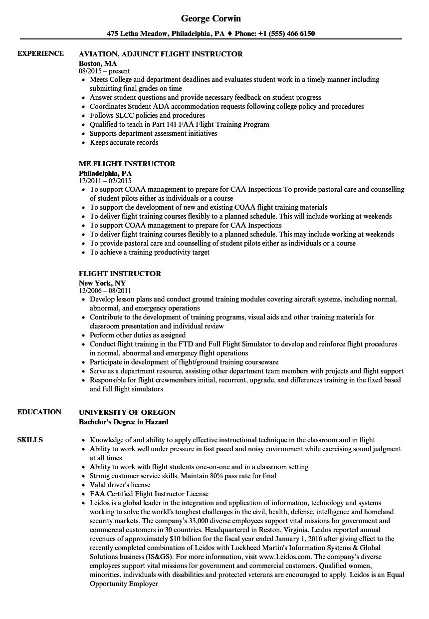 flight instructor resume samples velvet jobs
