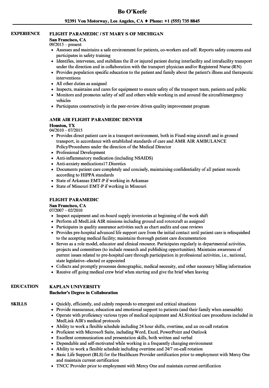 flight paramedic resume samples