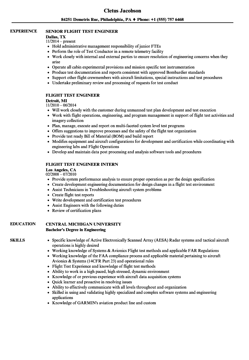 flight test engineer resume samples