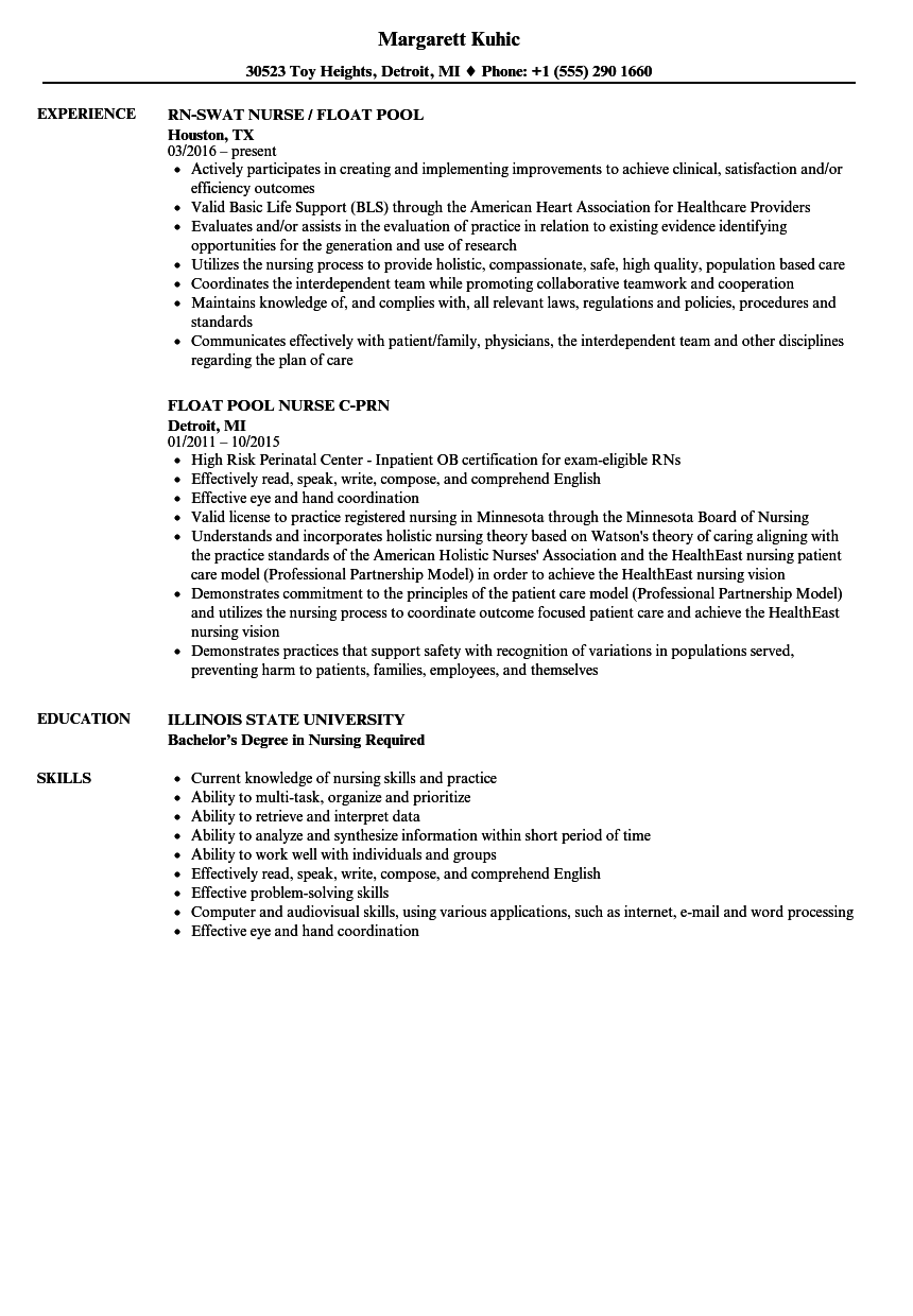 Float Pool Nurse Resume Samples Velvet Jobs - Sample resume for nurses skills