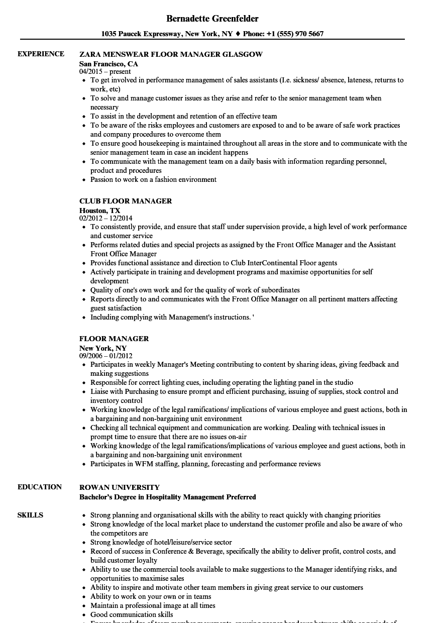 Floor Manager Resume Samples | Velvet Jobs