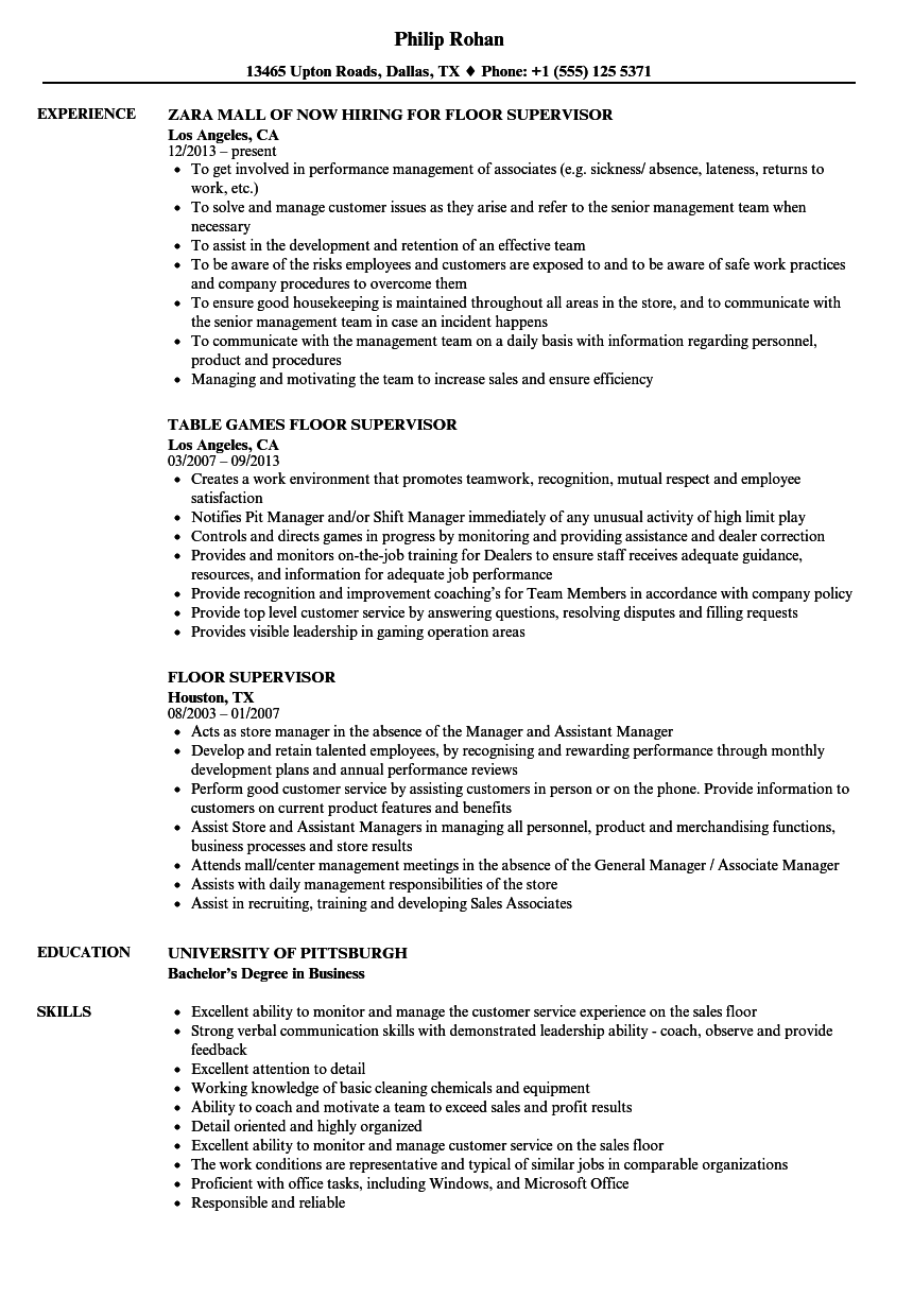 floor supervisor resume samples